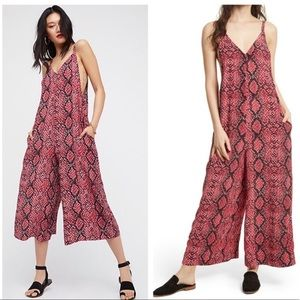 Free People Reptile Jumpsuit Romper in Cranberry